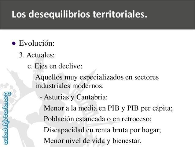   Evolución:  3. Actuales:  c. Ejes en declive:  Aquellos muy especializados en sectores  industriales modernos:  -Asturi...