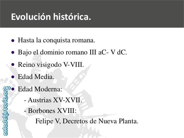 Evolución histórica.            Hasta la conquista romana.  Bajo el dominio romano III aC-V dC.  Reino visigodo V-VII...