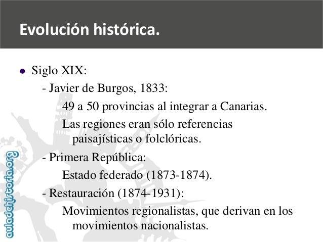   Siglo XIX:  -Javier de Burgos, 1833:  49 a 50 provincias al integrar a Canarias.  Las regiones eran sólo referencias  p...