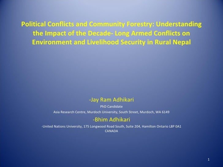 the conflict of political and natural The focus of this paper is to critically examine the phenomenon of conflict and political to the control of natural resources and political power.