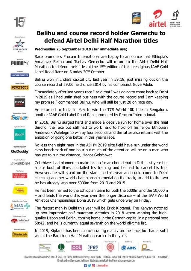 Belihu and course record holder Gemechu to defend Airtel Delhi Half Marathon titles Wednesday 25 September 2019 (for immed...