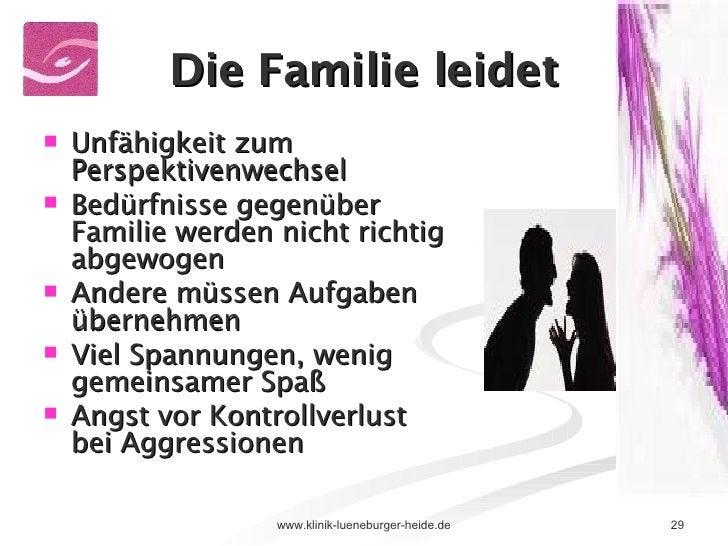 Die Familie leidet <ul><li>Unfähigkeit zum Perspektivenwechsel </li></ul><ul><li>Bedürfnisse gegenüber Familie werden nich...