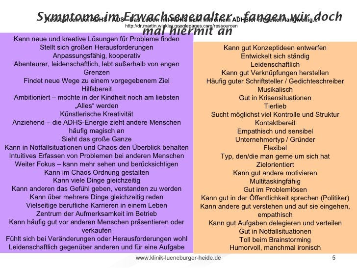 Symptome im Erwachsenenalter - fangen wir doch mal hiermit an  Ressourcen bei ADHS / ADS - Das Leben mit ADHS bzw. mit ein...