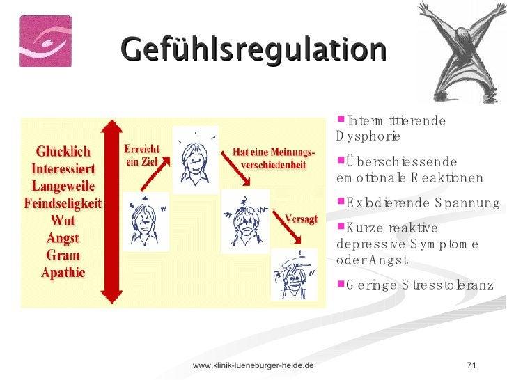 Gefühlsregulation <ul><li>Intermittierende Dysphorie </li></ul><ul><li>Überschiessende emotionale Reaktionen </li></ul><ul...