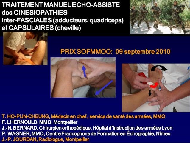 TRAITEMENT MANUEL ECHO-ASSISTEdes CINESIOPATHIESinter-FASCIALES (adducteurs, quadriceps)et CAPSULAIRES (cheville)         ...