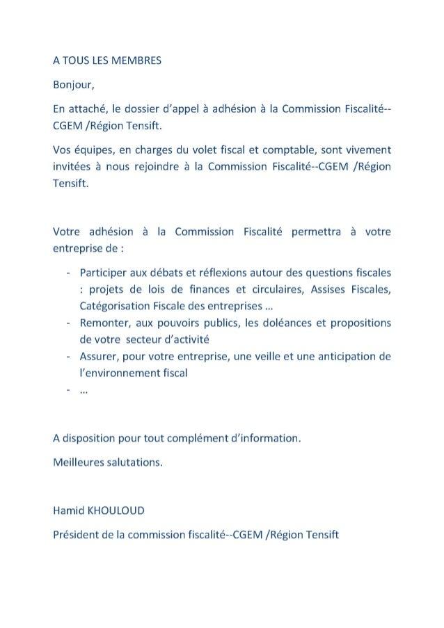 Adhésion Commission Fiscalité--CGEM /Région Tensift--Marrakech
