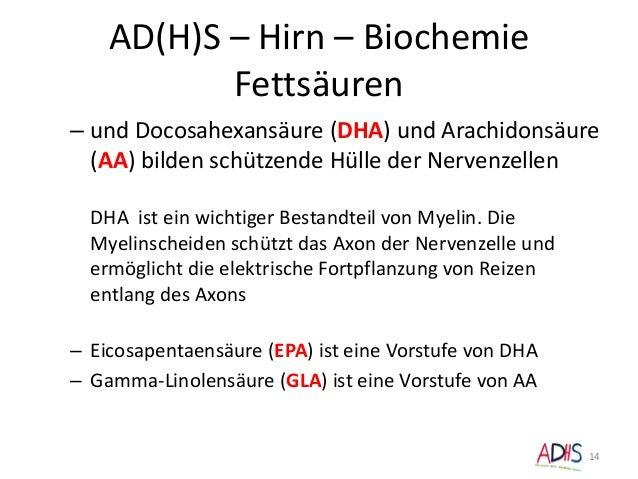 AD(H)S – Hirn – Biochemie Fettsäuren – und Docosahexansäure (DHA) und Arachidonsäure (AA) bilden schützende Hülle der Nerv...