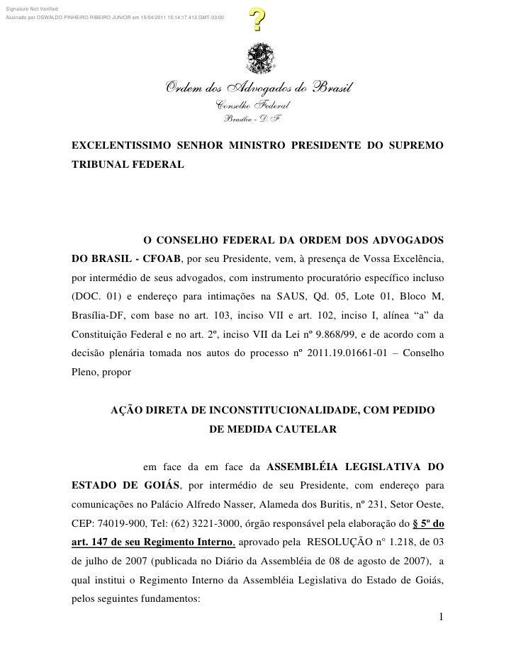 Signature Not VerifiedAssinado por OSWALDO PINHEIRO RIBEIRO JUNIOR em 15/04/2011 15:14:17.413 GMT-03:00                   ...