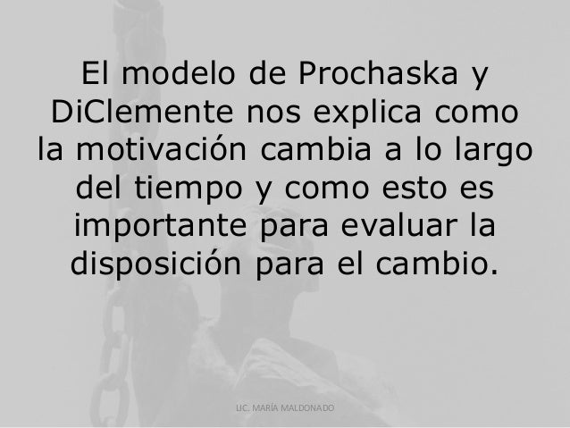 El modelo de Prochaska y  DiClemente nos explica como  la motivación cambia a lo largo  del tiempo y como esto es  importa...