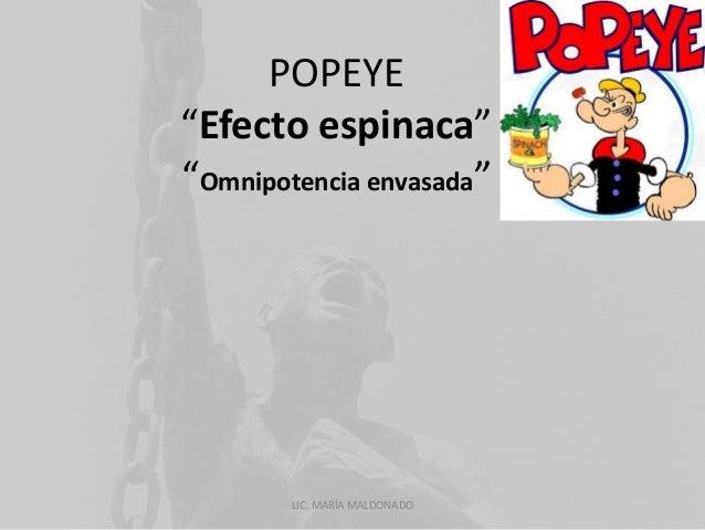 "POPEYE  ""Efecto espinaca""  ""Omnipotencia envasada""  LIC. MARÍA MALDONADO"