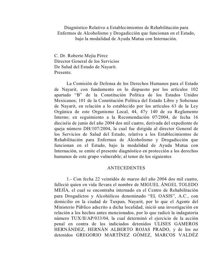 DiagnósticoRelativoaEstablecimientosdeRehabilitaciónpara  EnfermosdeAlcoholismoyDrogadicciónquefuncionanene...