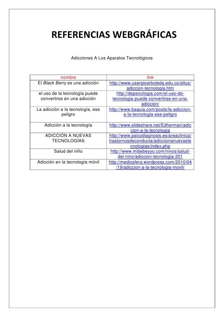 REFERENCIAS WEBGRÁFICAS                 Adicciones A Los Aparatos Tecnológicos           nombre                           ...