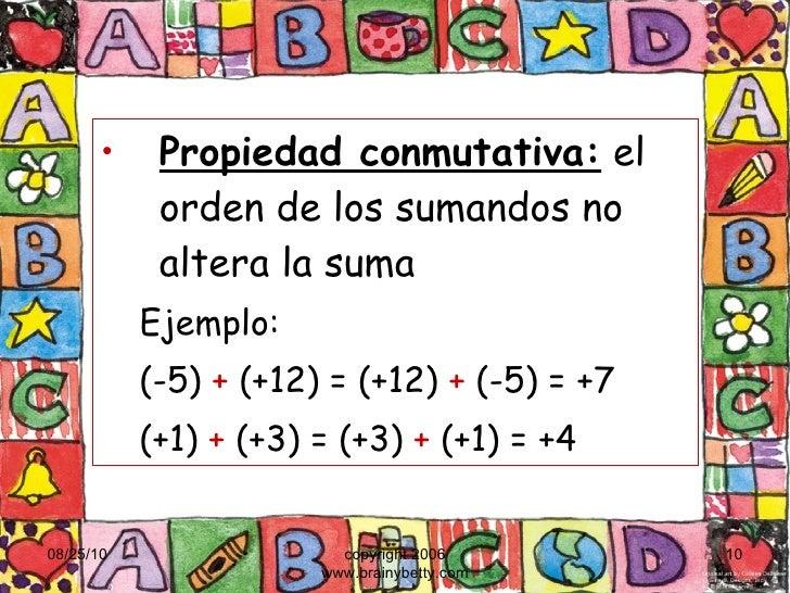 <ul><li>Propiedad conmutativa:  el orden de los sumandos no altera la suma </li></ul><ul><ul><li>Ejemplo:  </li></ul></ul>...