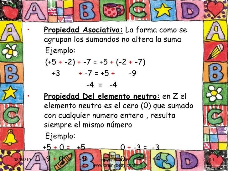 <ul><li>Propiedad Asociativa:  La forma como se agrupan los sumandos no altera la suma </li></ul><ul><ul><li>Ejemplo:  </l...
