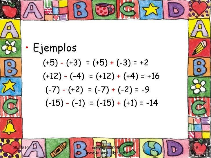 <ul><li>Ejemplos </li></ul><ul><ul><li>(+5)  -  (+3)  = (+5)  +  (-3) = +2 </li></ul></ul><ul><ul><li>(+12)  -  (-4)  = (+...