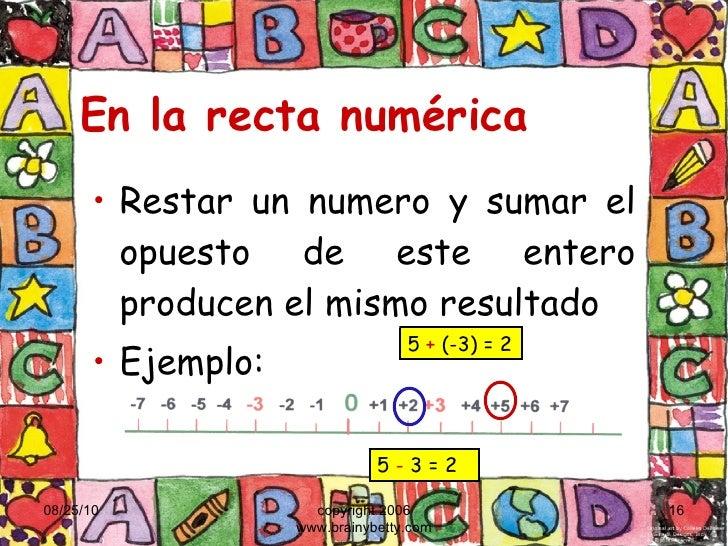 En la recta numérica <ul><li>Restar un numero y sumar el opuesto de este entero producen el mismo resultado </li></ul><ul>...