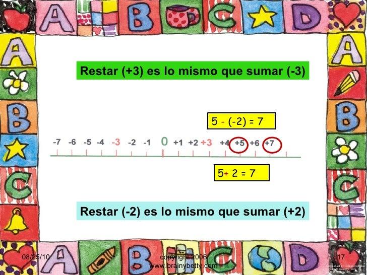08/25/10 copyright 2006 www.brainybetty.com 5  -  (-2) = 7 5 +  2 = 7 Restar (+3) es lo mismo que sumar (-3) Restar (-2) e...