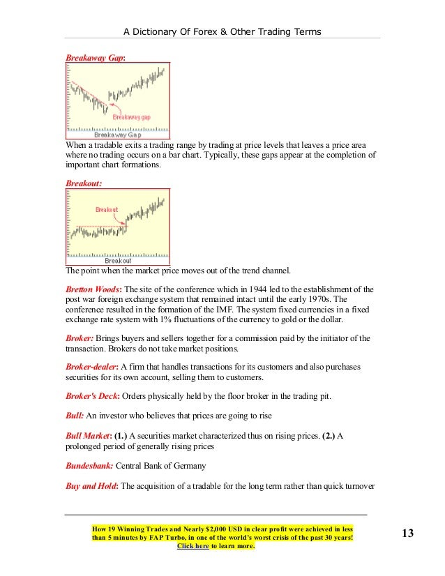 A Dictionary of Forex & Other Trading Terms