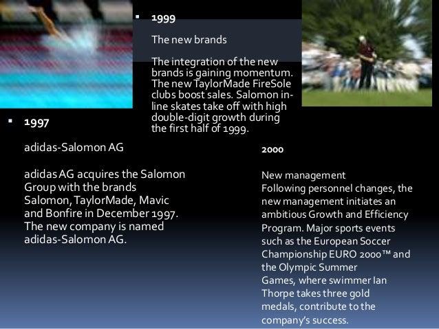  2005Sale of SalomonThe Salomon Group (includingSalomon, Mavic, Bonfire, Cliché andArc'Teryx) is being sold to Amer Sport...