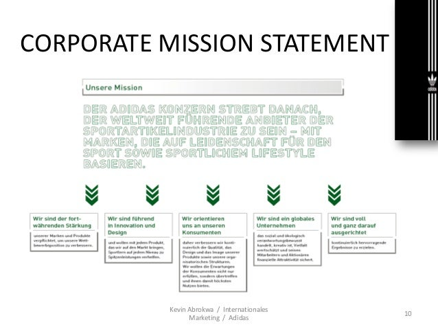 adidas mission statement analysis Adidas mission statement 2018 at sony, our mission a company that inspires and fulfills your curiosity view/download income statement for adidas ag (adr) (addyy) showing adidas quarterly revenue, sales, profits and more for 2018 q1, 2017 q4.