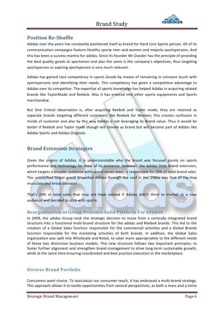 adidas strategic management analisys Adidas strategic management analysis foot locker retail, inc is an american sportswear and footwear retailer, with its headquarters in midtown manhattan, new york.