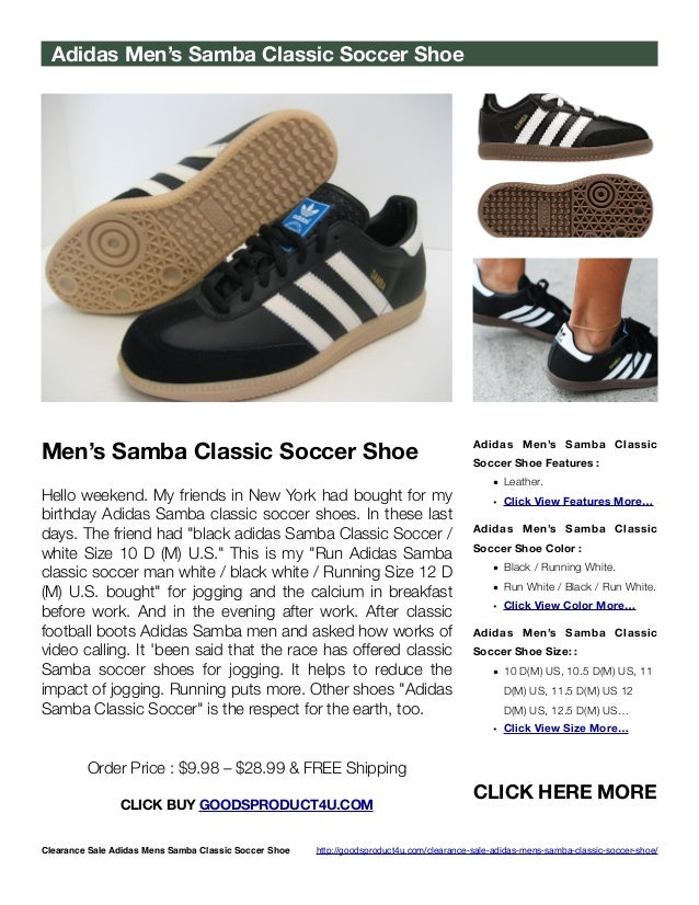 Clearance Sale Adidas Men s Samba Classic Soccer Shoe 88a5ecca4aa5