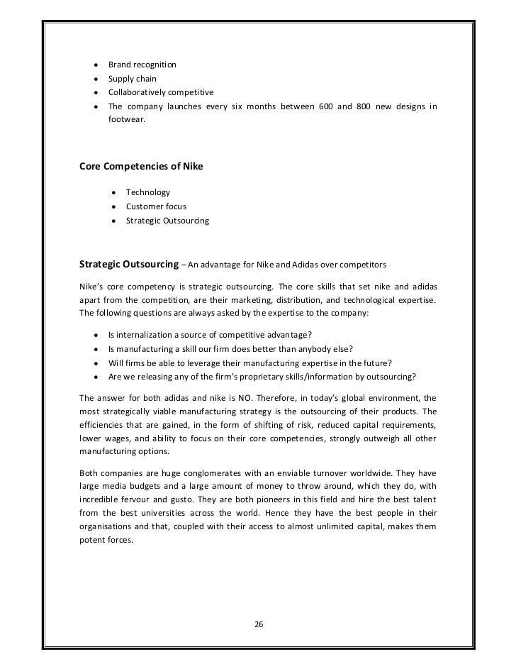 adidas core competencies