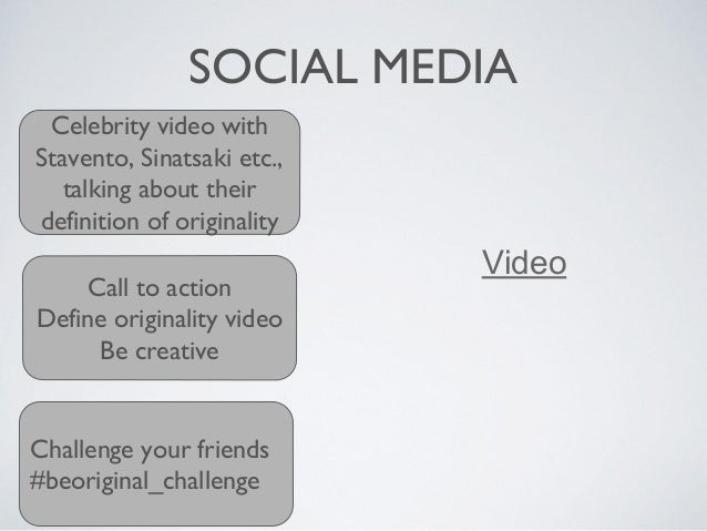 SOCIAL MEDIA Celebrity video with Stavento, Sinatsaki etc., talking about their definition of originality Call to action D...