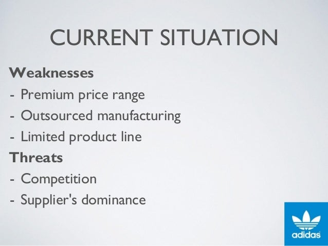 CURRENT SITUATION Weaknesses - Premium price range - Outsourced manufacturing - Limited product line Threats - Competition...
