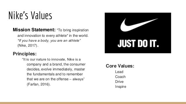 values passion performance integrity diversity 10 nikes values mission statement