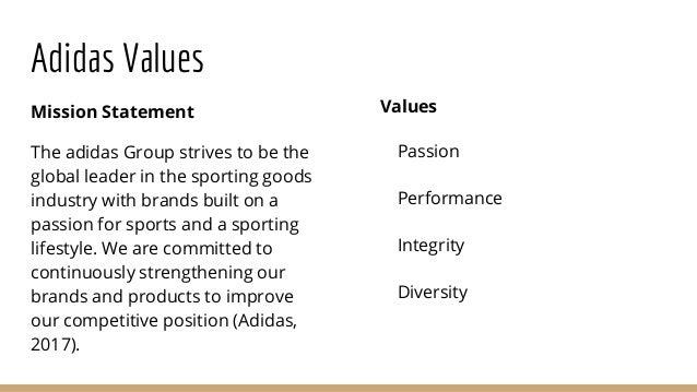 adidas values mission statement