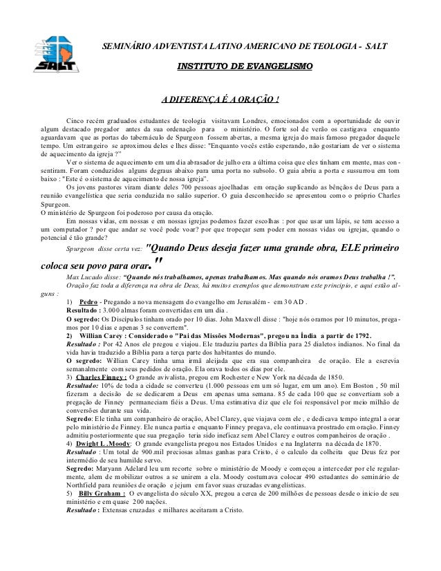 SEMINÁRIO ADVENTISTA LATINO AMERICANO DE TEOLOGIA - SALT                                              INSTITUTO DE EVANGEL...