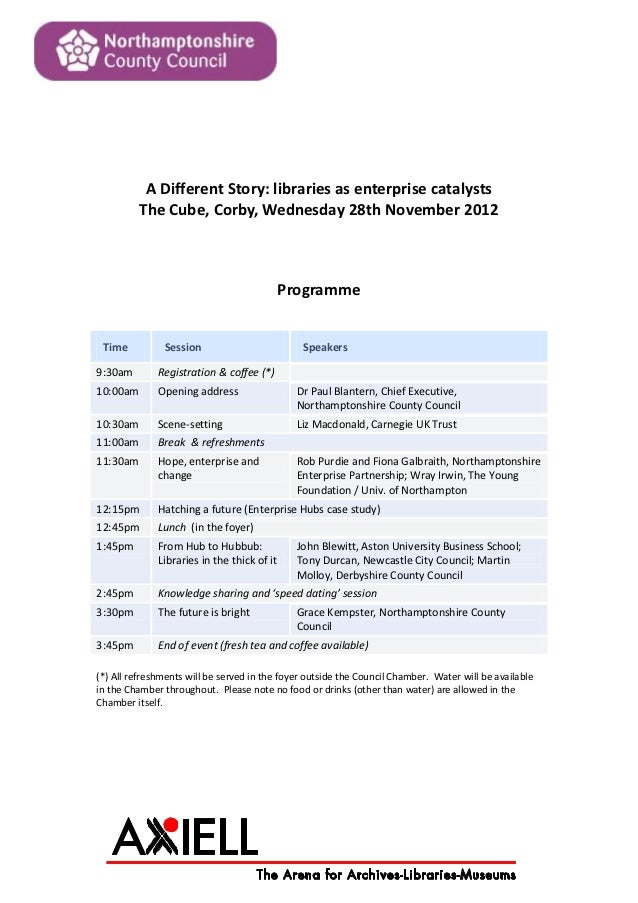 A Different Story: libraries as enterprise catalysts          The Cube, Corby, Wednesday 28th November 2012               ...