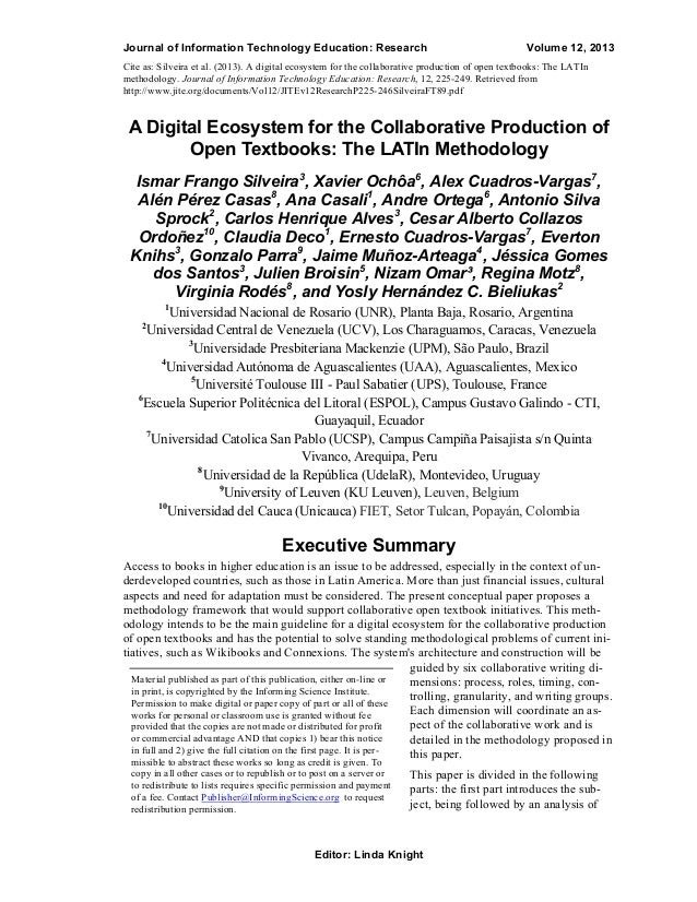 Journal of Information Technology Education: Research  Volume 12, 2013  Cite as: Silveira et al. (2013). A digital ecosyst...