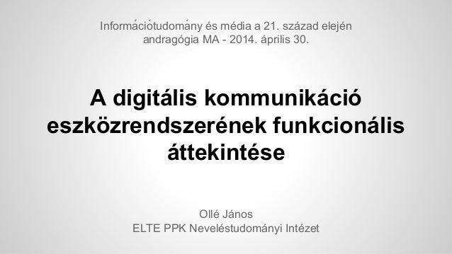A digitális kommunikáció eszközrendszerének funkcionális áttekintése Ollé János ELTE PPK Neveléstudományi Intézet Informá...
