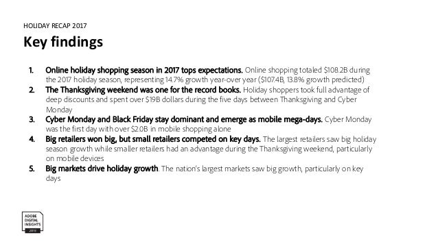 HOLIDAY RECAP 2017 Online holiday shopping tops expectations Methodology Prediction based on Adobe analysis of aggregate a...