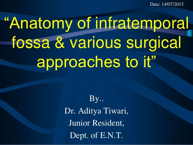 """""""Anatomy of infratemporal fossa & various surgical approaches to it"""" By.. Dr. Aditya Tiwari, Junior Resident, Dept. of E.N..."""