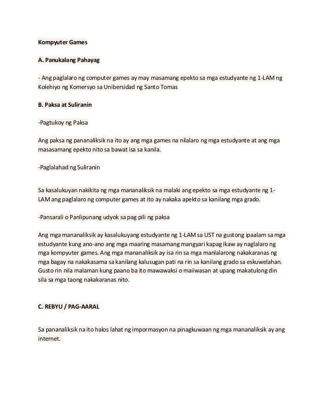epekto ng kompyuter games sa mga estudyante thesis