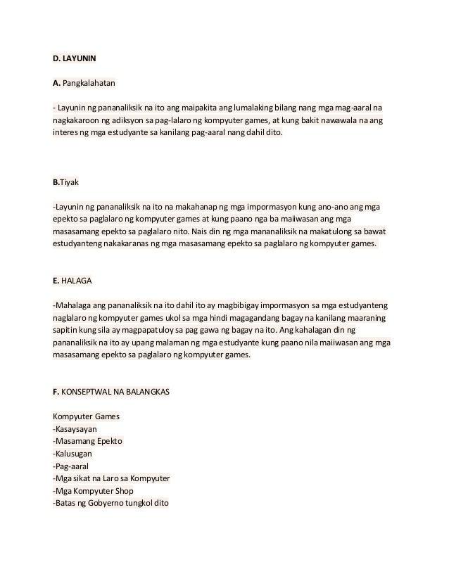 epekto ng paglalaro ng kompyuter games thesis