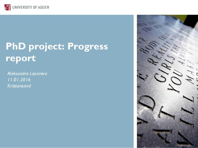 PhD project: Progress report Aleksandra Lazareva 11.01.2016 Kristiansand