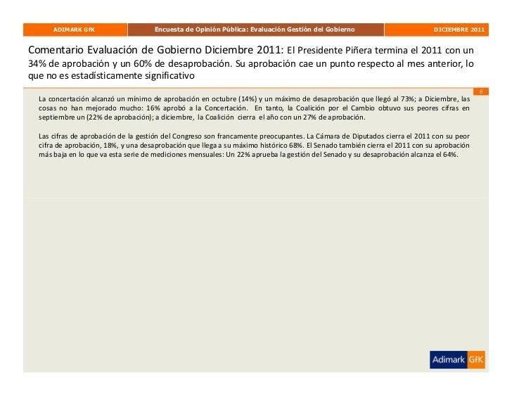 ADIMARK GfK                    Encuesta de Opinión Pública: Evaluación Gestión del Gobierno                          DICIE...