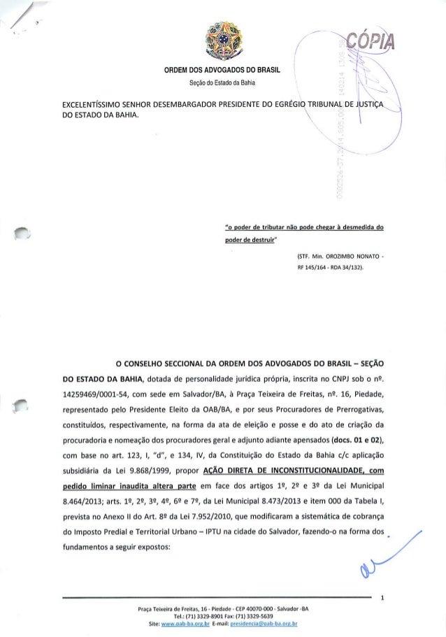 Adin da OAB-BA contra aumento do IPTU em Salvador