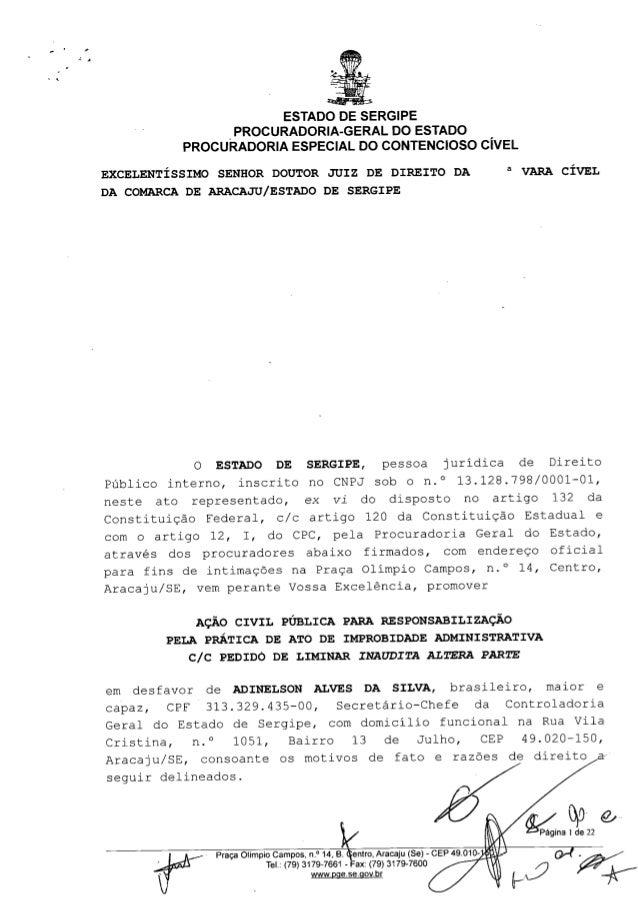 ,  A  ESTADO DE SERGIPE PROCURADORIA-GERAL DO ESTADO PROCURADORIA ESPECIAL DO CONTENCIOSO CíVEL EXCELENTÍSSIMO  SENHOR DOU...