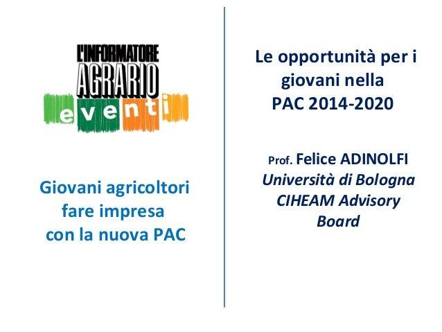 Le opportunità per i giovani nella PAC 2014-2020 Prof. Felice  Giovani agricoltori fare impresa con la nuova PAC  ADINOLFI...