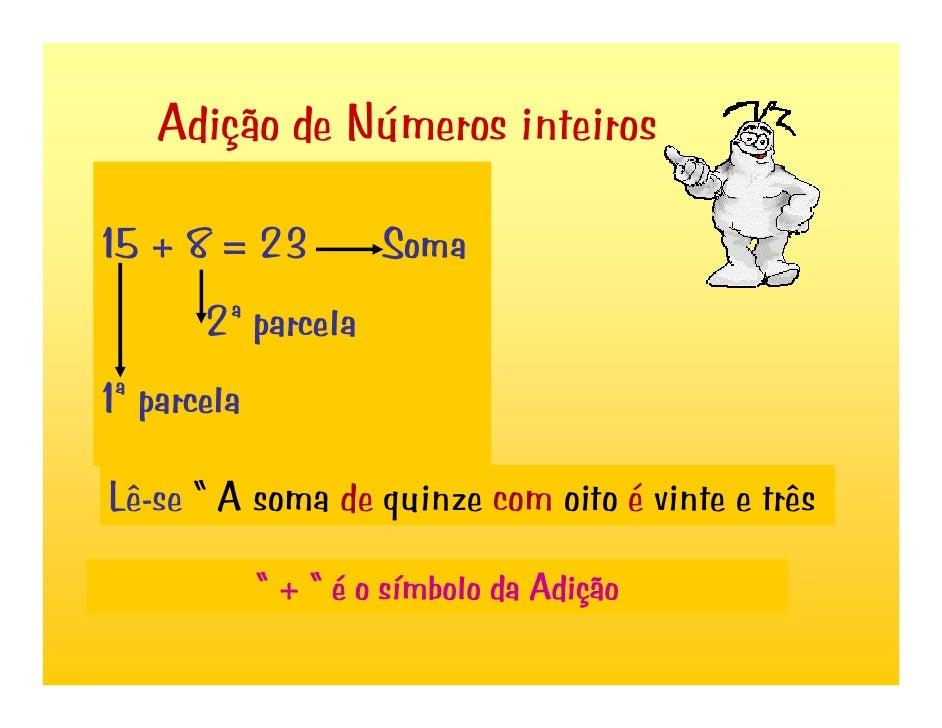 """Adição de Números inteiros15 + 8 = 23           Soma       2ª parcela1ª parcelaLê-se """" A soma de quinze com oito é vinte e..."""