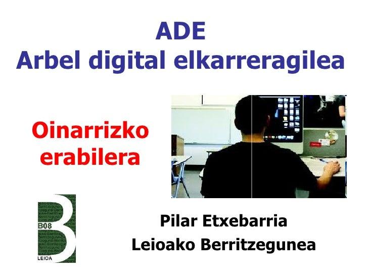ADEArbel digital elkarreragilea Oinarrizko erabilera            Pilar Etxebarria         Leioako Berritzegunea