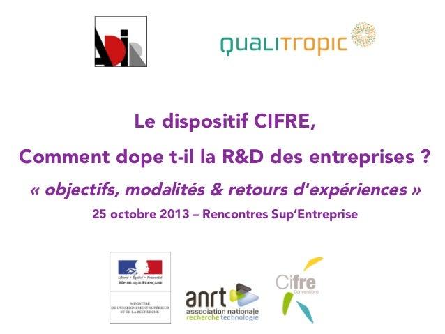 Le dispositif CIFRE,  Comment dope t-il la R&D des entreprises ? «objectifs, modalités & retours d'expériences »  25 octo...