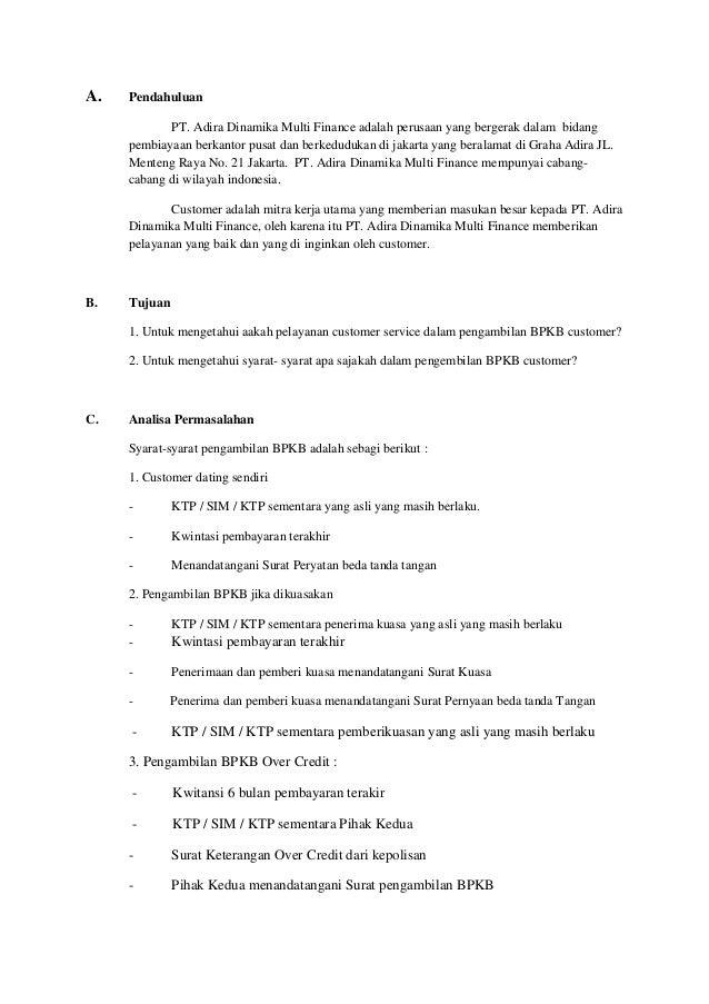 Contoh Surat Kuasa Pengambilan Bpkb Adira Finance ...