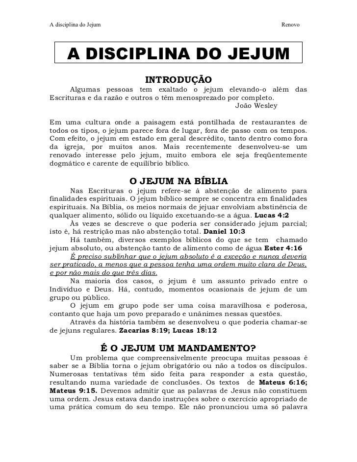 A disciplina do Jejum                                              Renovo       A DISCIPLINA DO JEJUM                     ...
