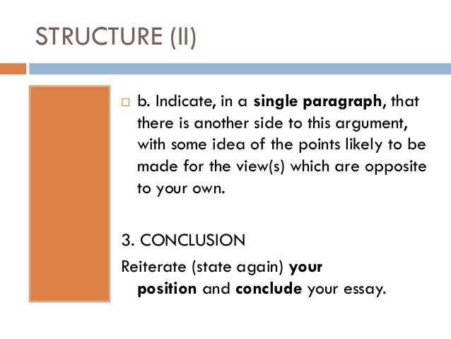 a discursive essay taking sides structure